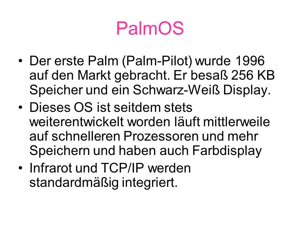 PalmOS Der erste Palm (Palm-Pilot) wurde 1996 auf den Markt gebracht.