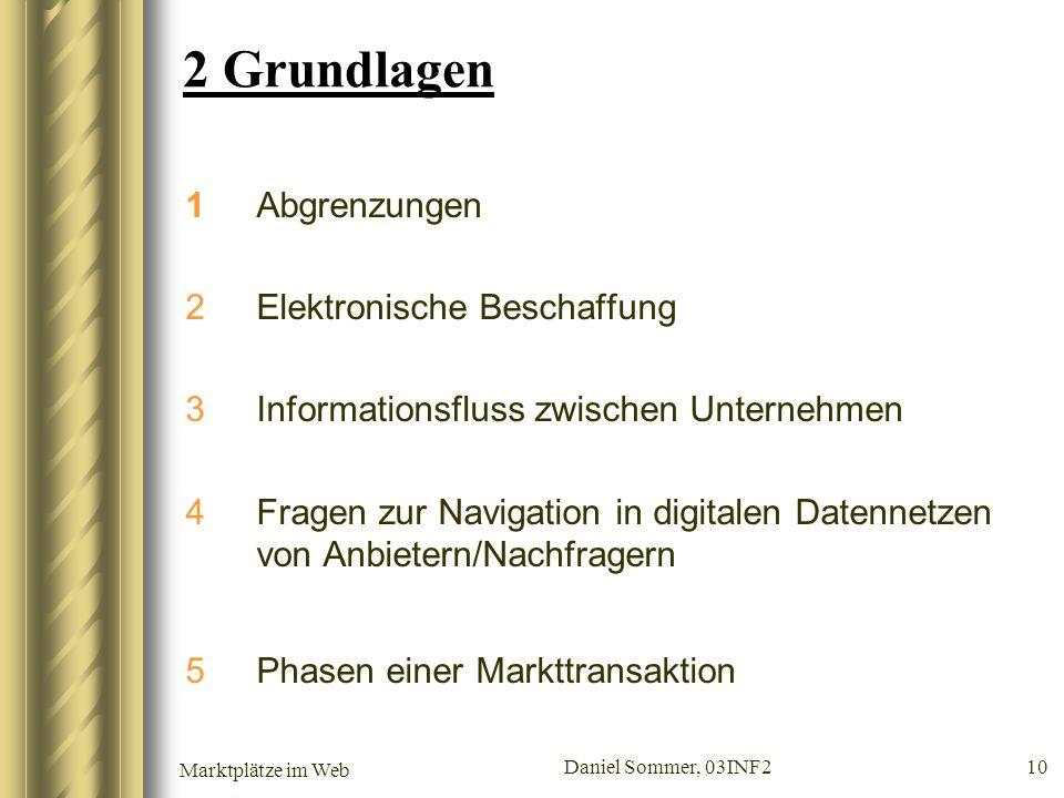 Marktplätze im Web Daniel Sommer, 03INF2 10 2 Grundlagen 1Abgrenzungen 2Elektronische Beschaffung 3Informationsfluss zwischen Unternehmen 4Fragen zur