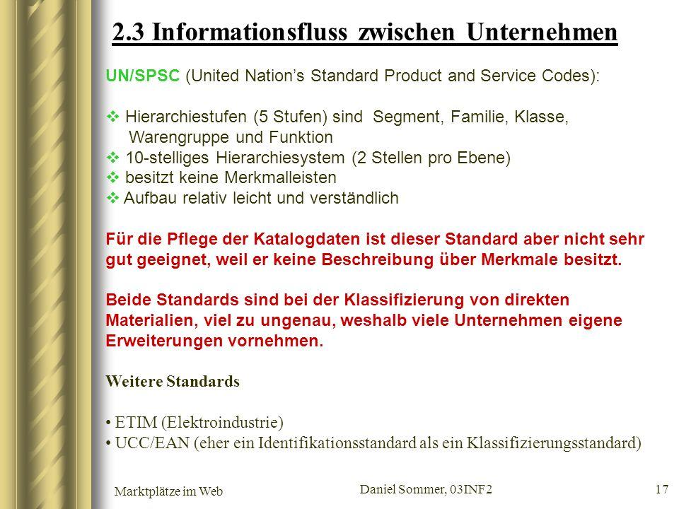 Marktplätze im Web Daniel Sommer, 03INF2 17 2.3 Informationsfluss zwischen Unternehmen UN/SPSC (United Nations Standard Product and Service Codes): Hi