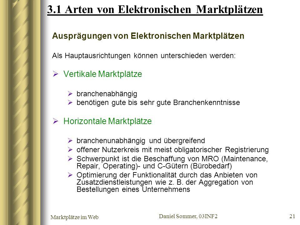 Marktplätze im Web Daniel Sommer, 03INF2 21 3.1 Arten von Elektronischen Marktplätzen Ausprägungen von Elektronischen Marktplätzen Als Hauptausrichtun