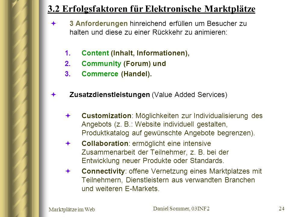 Marktplätze im Web Daniel Sommer, 03INF2 24 3.2 Erfolgsfaktoren für Elektronische Marktplätze 3 Anforderungen hinreichend erfüllen um Besucher zu halt
