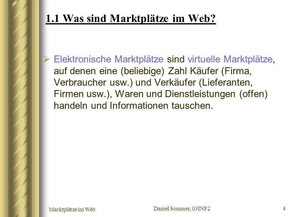 Marktplätze im Web Daniel Sommer, 03INF2 4 1.1 Was sind Marktplätze im Web? Elektronische Marktplätze sind virtuelle Marktplätze, auf denen eine (beli