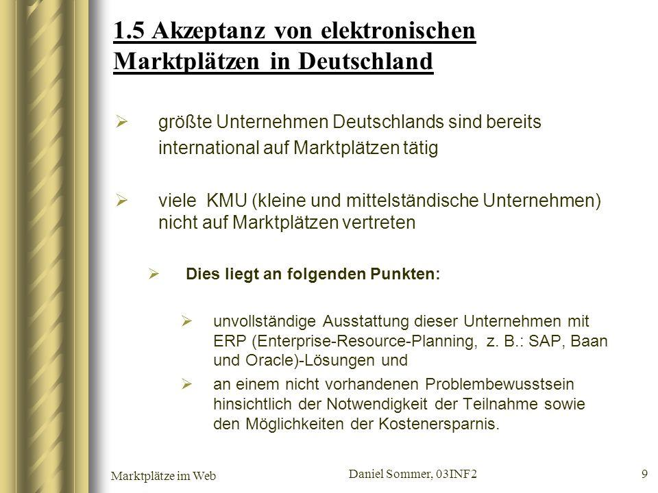 Marktplätze im Web Daniel Sommer, 03INF2 9 1.5 Akzeptanz von elektronischen Marktplätzen in Deutschland größte Unternehmen Deutschlands sind bereits i