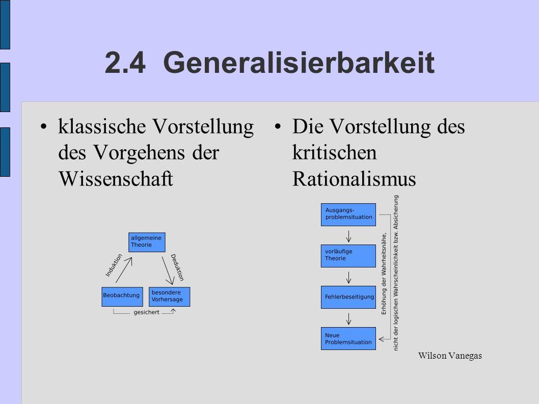 2.4 Generalisierbarkeit klassische Vorstellung des Vorgehens der Wissenschaft Die Vorstellung des kritischen Rationalismus Wilson Vanegas