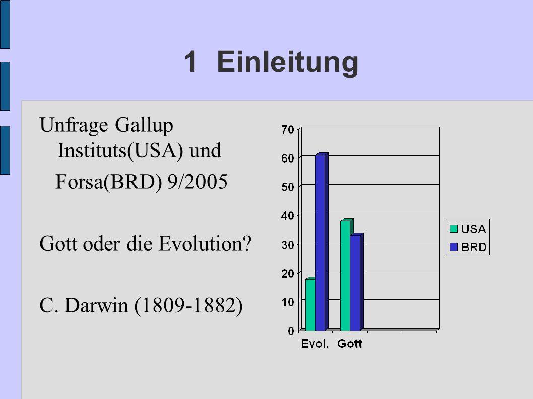 1 Einleitung Unfrage Gallup Instituts(USA) und Forsa(BRD) 9/2005 Gott oder die Evolution? C. Darwin (1809-1882)