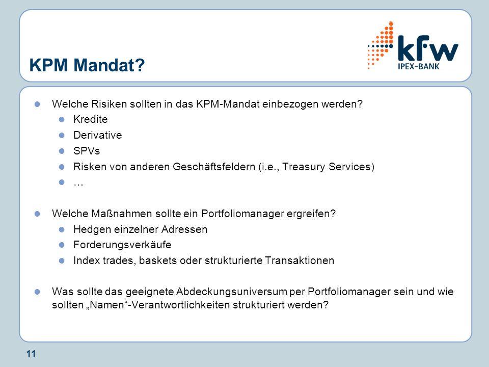 11 KPM Mandat? Welche Risiken sollten in das KPM-Mandat einbezogen werden? Kredite Derivative SPVs Risken von anderen Geschäftsfeldern (i.e., Treasury
