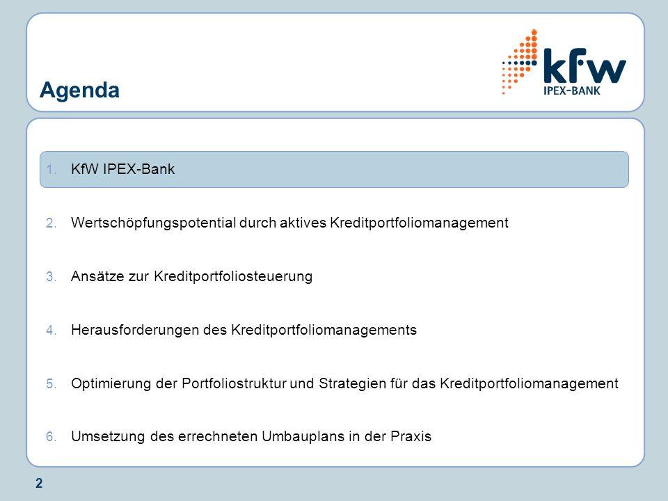2 1. KfW IPEX-Bank 2. Wertschöpfungspotential durch aktives Kreditportfoliomanagement 3. Ansätze zur Kreditportfoliosteuerung 4. Herausforderungen des