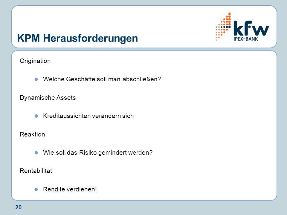20 KPM Herausforderungen Origination Welche Geschäfte soll man abschließen.