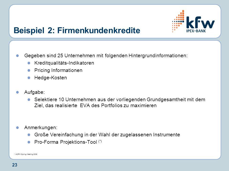 23 Beispiel 2: Firmenkundenkredite Gegeben sind 25 Unternehmen mit folgenden Hintergrundinformationen: Kreditqualitäts-Indikatoren Pricing Information