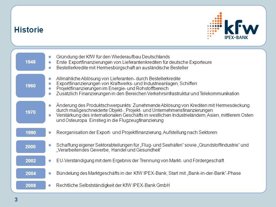4 Zahlen und Fakten NameKfW IPEX-Bank GmbH RechtsformGmbH, Gesellschafter: KfW (100%) Sitz Frankfurt am Main Repräsentanz der KfW IPEX-Bank GmbH: London KfW-Repräsentanzen, die sukzessive auf die KfW IPEX-Bank GmbH über- führt werden: Bangkok, Istanbul, Moskau, Mumbai, Sao Paulo, New York GeschäftsfelderGrundstoffindustrie; Verarbeitendes Gewerbe, Handel und Gesundheit; Energie und Umwelt; Telekommunikation und Medien Schifffahrt; Luftfahrt; Schienen- und Straßenverkehr; Flug- und Seehäfen, Bauwirtschaft; LBO-Finanzierungen, Mezzanine, Eigenkapital Kundenkreis Große und größere mittelständische Unternehmen mit internationaler Ausrichtung und deren Zielmärkte RatingAA- (S&P) / Aa3 (Moodys) * Zahlen per Ende Dezember 2007.