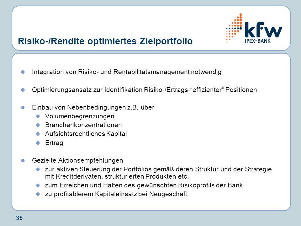36 Risiko-/Rendite optimiertes Zielportfolio Integration von Risiko- und Rentabilitätsmanagement notwendig Optimierungsansatz zur Identifikation Risiko-/Ertrags-effizienter Positionen Einbau von Nebenbedingungen z.B.