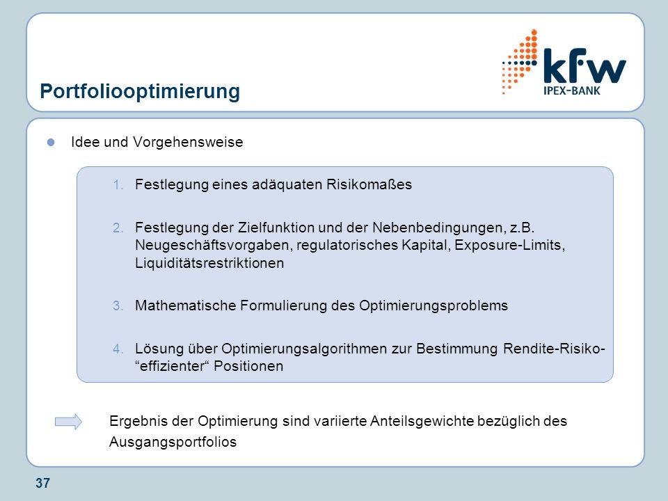 37 Portfoliooptimierung Idee und Vorgehensweise 1. Festlegung eines adäquaten Risikomaßes 2. Festlegung der Zielfunktion und der Nebenbedingungen, z.B