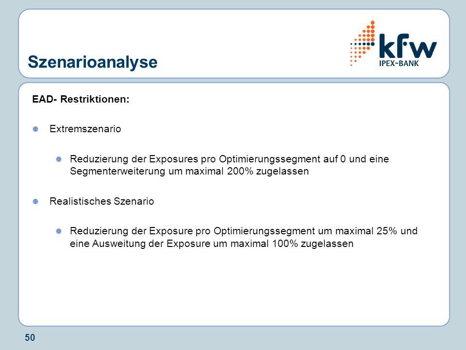 50 Szenarioanalyse EAD- Restriktionen: Extremszenario Reduzierung der Exposures pro Optimierungssegment auf 0 und eine Segmenterweiterung um maximal 2