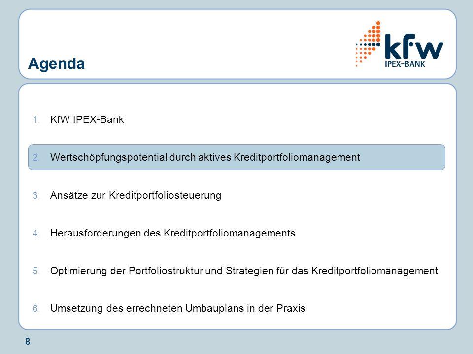 8 1. KfW IPEX-Bank 2. Wertschöpfungspotential durch aktives Kreditportfoliomanagement 3. Ansätze zur Kreditportfoliosteuerung 4. Herausforderungen des