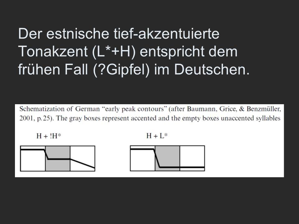 Der estnische tief-akzentuierte Tonakzent (L*+H) entspricht dem frühen Fall (?Gipfel) im Deutschen.