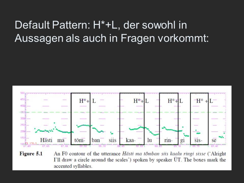 Default Pattern: H*+L, der sowohl in Aussagen als auch in Fragen vorkommt: