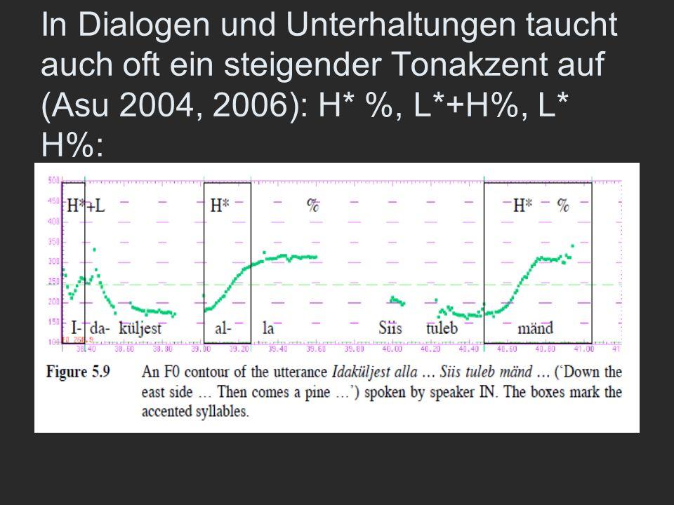 In Dialogen und Unterhaltungen taucht auch oft ein steigender Tonakzent auf (Asu 2004, 2006): H* %, L*+H%, L* H%: