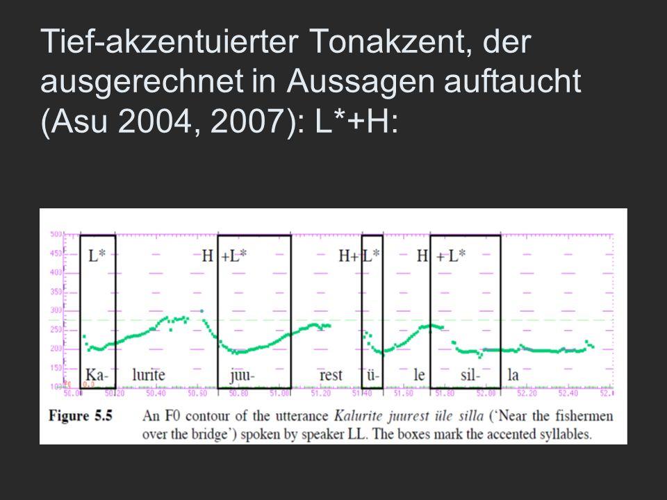 Tief-akzentuierter Tonakzent, der ausgerechnet in Aussagen auftaucht (Asu 2004, 2007): L*+H: