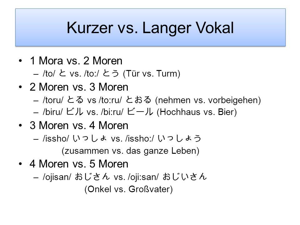 Kurzer vs. langer Konsonant 2 Moren vs. 3 Moren –/kite/ vs. /kitte/ (Komm!/ Zieh was an! vs. Schneide!/ Briefmarke) –/shita/ vs. /shitta/ (getan vs. e