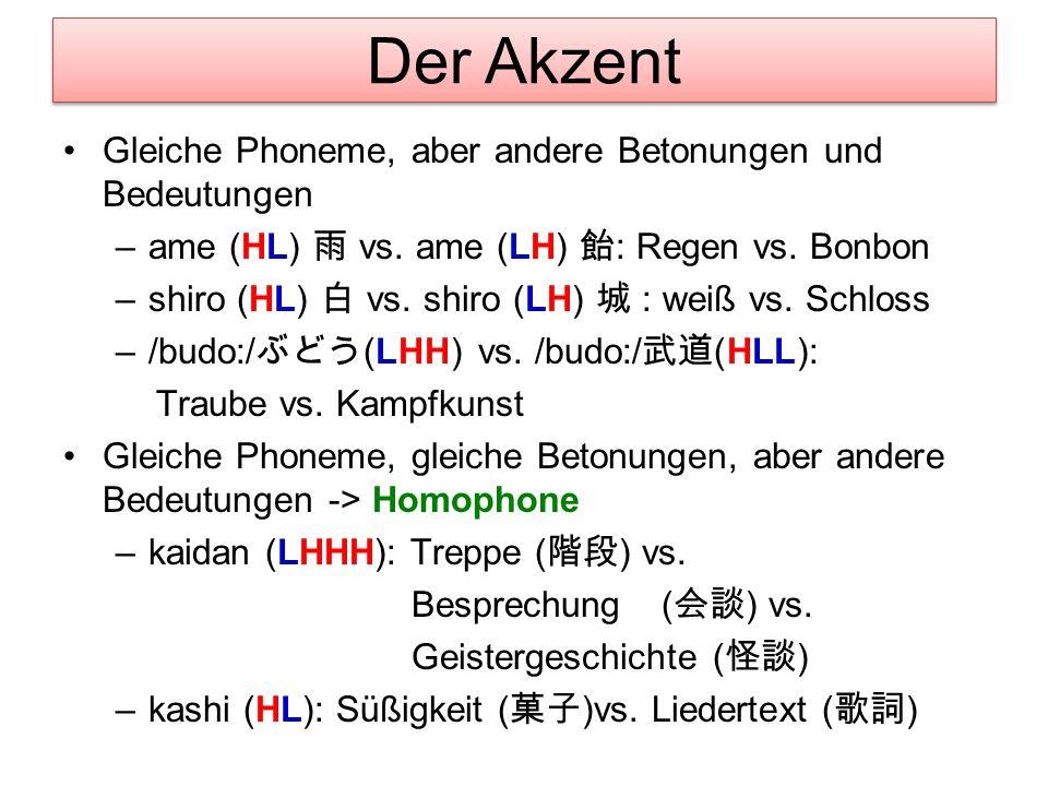 Die Bedeutung von Wörtern Hashi: Stäbchen, Brücke oder Kante? Kokoni kino hashiga (HLL) aru. 1. Mora=Nucleusakzent (Hier ist ein Paar Holzstäbchen.) K
