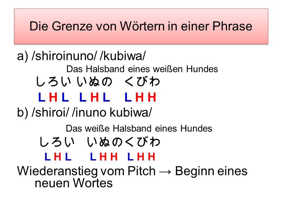 Der Akzent Gleiche Phoneme, aber andere Betonungen und Bedeutungen –ame (HL) vs. ame (LH) : Regen vs. Bonbon –shiro (HL) vs. shiro (LH) : weiß vs. Sch
