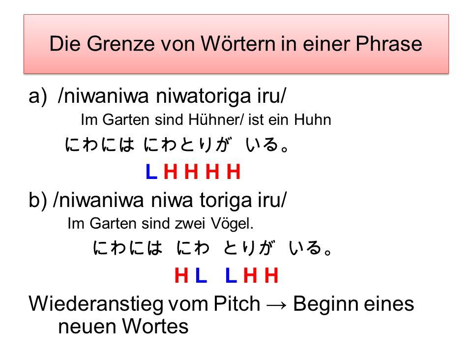 Die Grenze von Wörtern in einer Phrase /sorewa watashiga/ /mo:shimashita/ Ich habe es gesagt. L H H H L L b) /sorewa watashiga/ /mo:/ /shimashita/ Ich