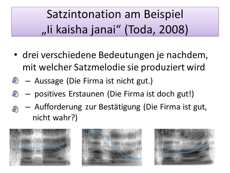 Untersuchung zur Intonation am Satzende (Kubozono, 2008) Untersuchung am Satz Konai deyo (nicht kommen) Intonation entscheidend für die wahrgenommene