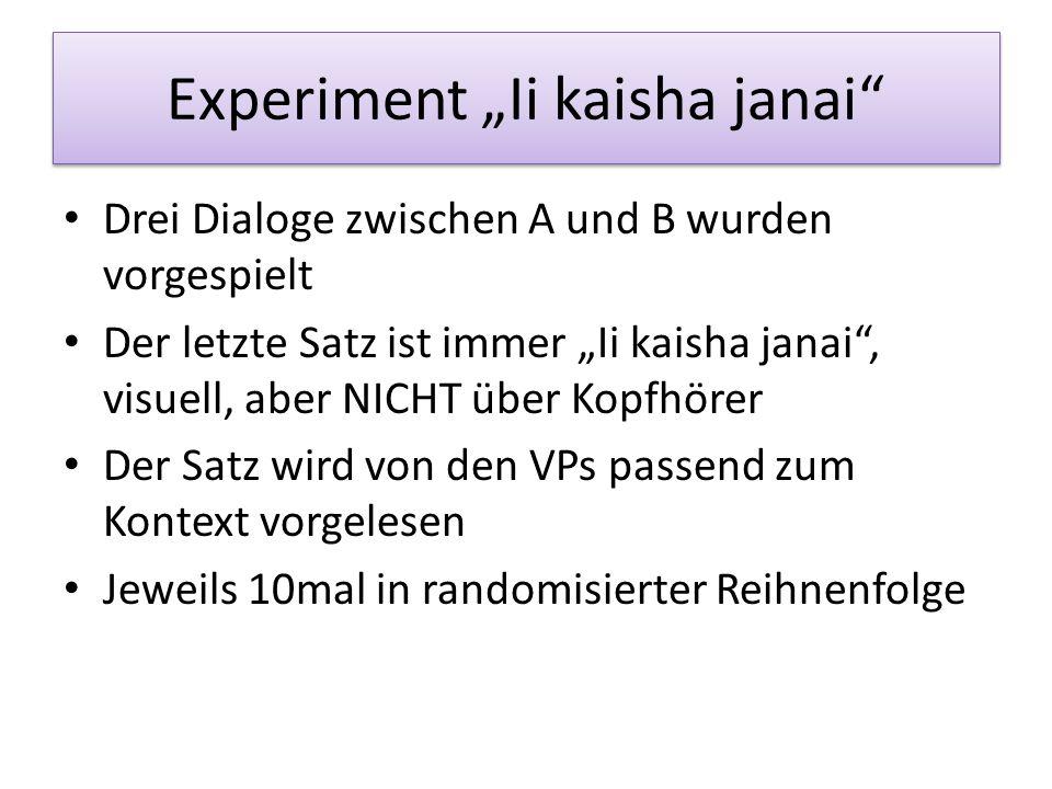 Satzintonation am Beispiel Ii kaisha janai (Toda, 2008) drei verschiedene Bedeutungen je nachdem, mit welcher Satzmelodie sie produziert wird – Aussag