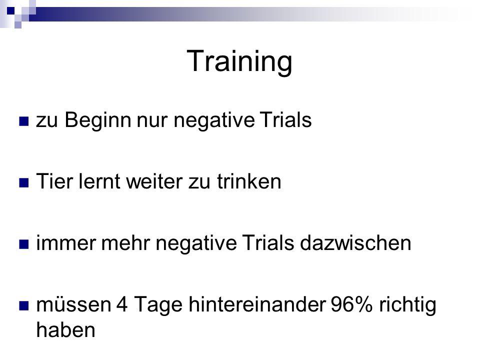 Training zu Beginn nur negative Trials Tier lernt weiter zu trinken immer mehr negative Trials dazwischen müssen 4 Tage hintereinander 96% richtig hab