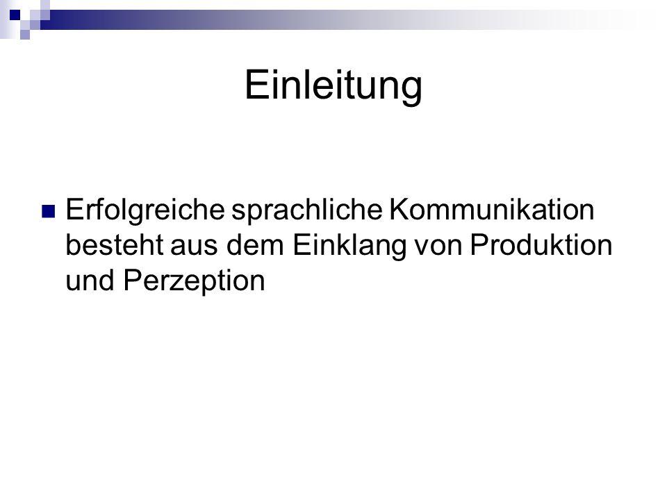 Einleitung Erfolgreiche sprachliche Kommunikation besteht aus dem Einklang von Produktion und Perzeption