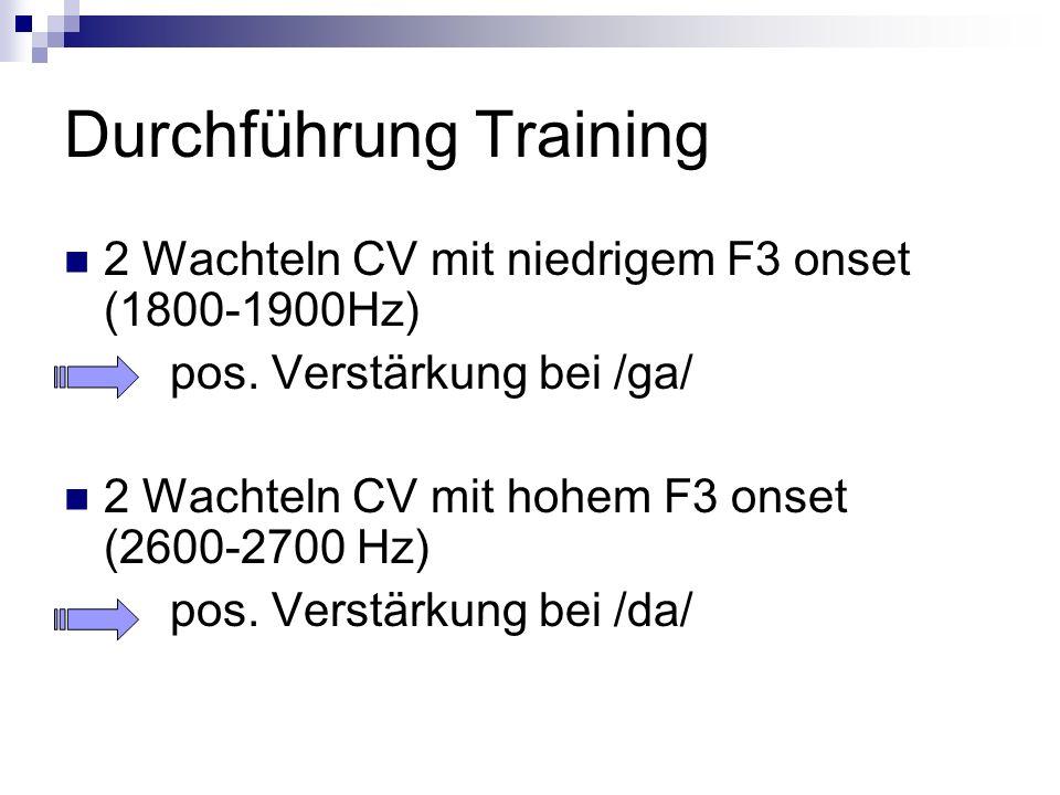 Durchführung Training 2 Wachteln CV mit niedrigem F3 onset (1800-1900Hz) pos. Verstärkung bei /ga/ 2 Wachteln CV mit hohem F3 onset (2600-2700 Hz) pos