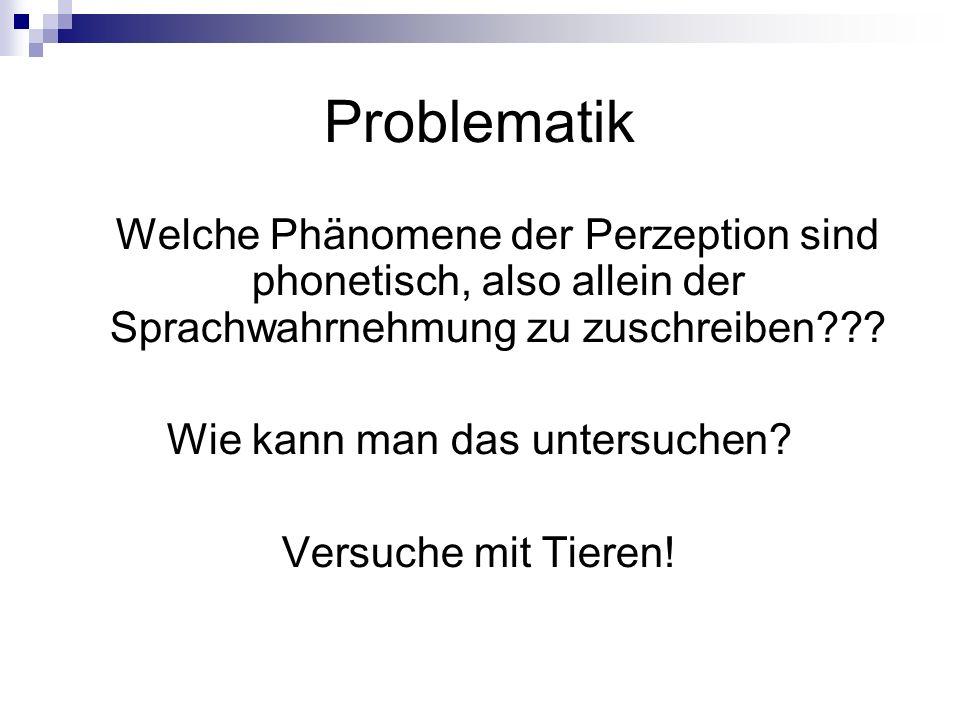 Problematik Welche Phänomene der Perzeption sind phonetisch, also allein der Sprachwahrnehmung zu zuschreiben??? Wie kann man das untersuchen? Versuch