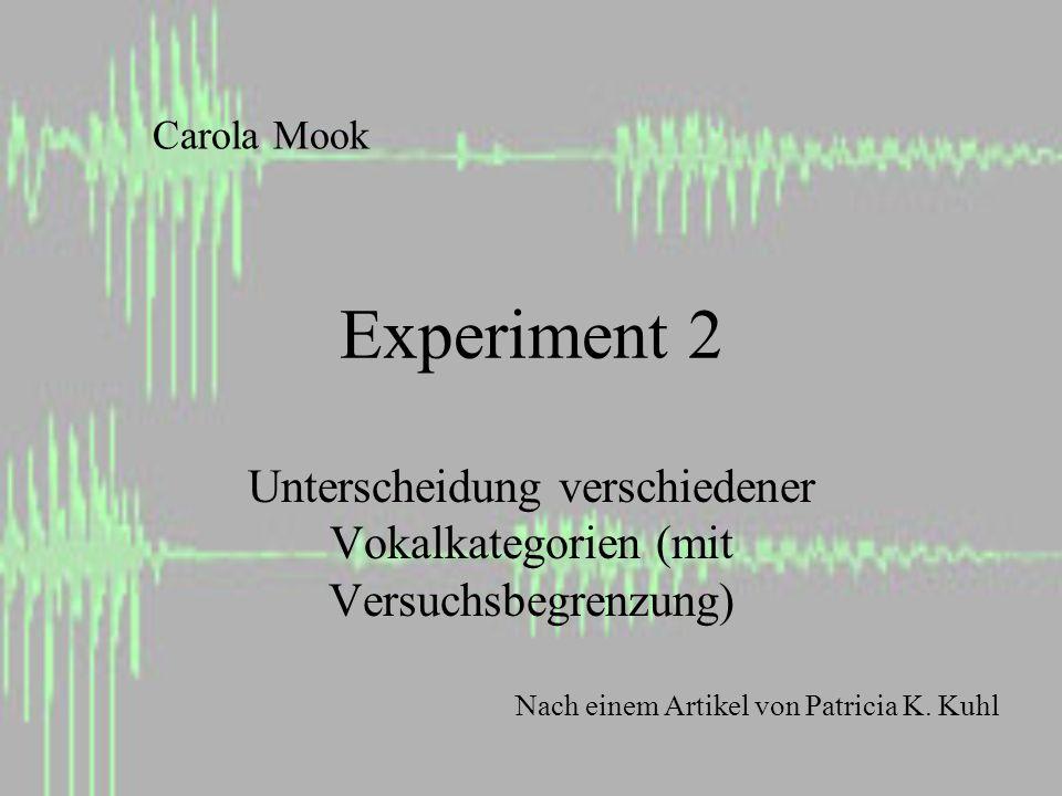 Experiment 2 Unterscheidung verschiedener Vokalkategorien (mit Versuchsbegrenzung) Carola Mook Nach einem Artikel von Patricia K.