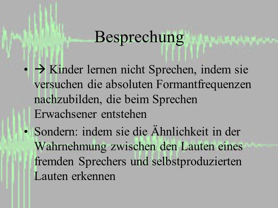 Besprechung Kinder lernen nicht Sprechen, indem sie versuchen die absoluten Formantfrequenzen nachzubilden, die beim Sprechen Erwachsener entstehen Sondern: indem sie die Ähnlichkeit in der Wahrnehmung zwischen den Lauten eines fremden Sprechers und selbstproduzierten Lauten erkennen
