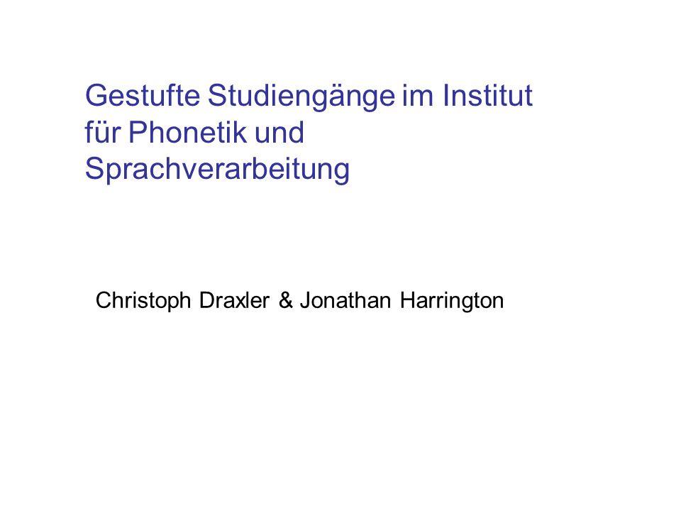 Gestufte Studiengänge im Institut für Phonetik und Sprachverarbeitung Christoph Draxler & Jonathan Harrington