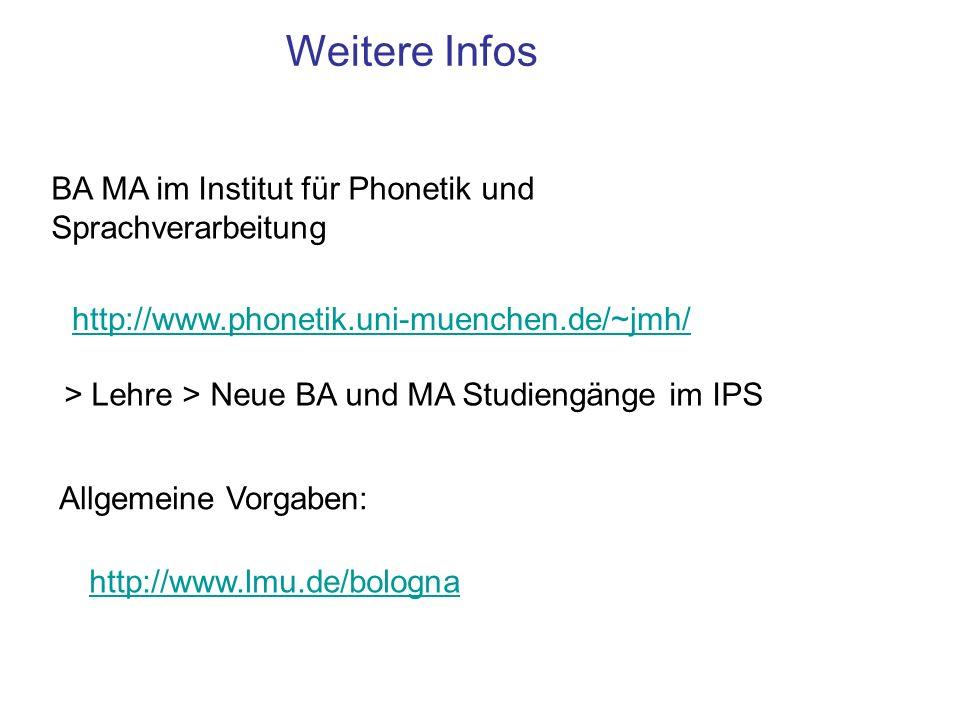Weitere Infos BA MA im Institut für Phonetik und Sprachverarbeitung http://www.phonetik.uni-muenchen.de/~jmh/ > Lehre > Neue BA und MA Studiengänge im