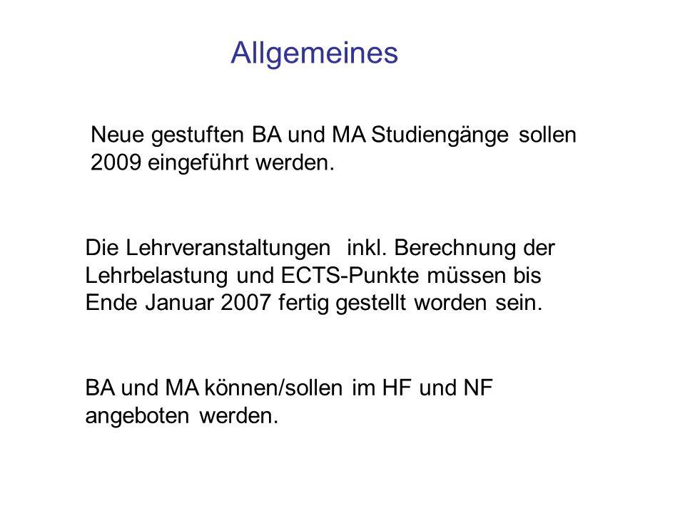 Neue gestuften BA und MA Studiengänge sollen 2009 eingeführt werden. Die Lehrveranstaltungen inkl. Berechnung der Lehrbelastung und ECTS-Punkte müssen