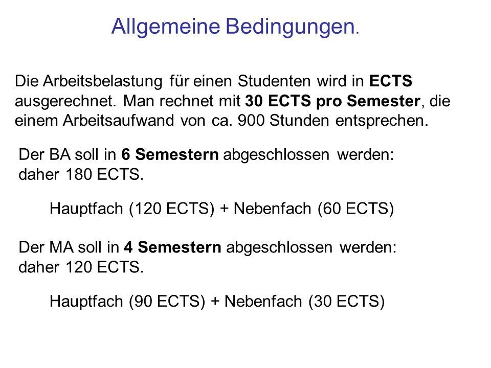 Allgemeine Bedingungen. Die Arbeitsbelastung für einen Studenten wird in ECTS ausgerechnet. Man rechnet mit 30 ECTS pro Semester, die einem Arbeitsauf