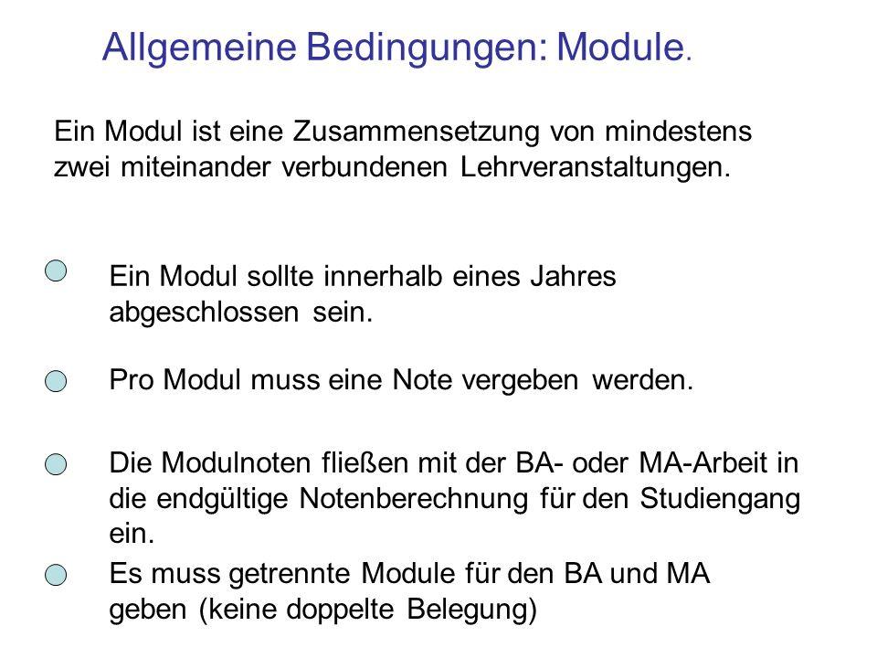 Allgemeine Bedingungen: Module. Ein Modul ist eine Zusammensetzung von mindestens zwei miteinander verbundenen Lehrveranstaltungen. Pro Modul muss ein