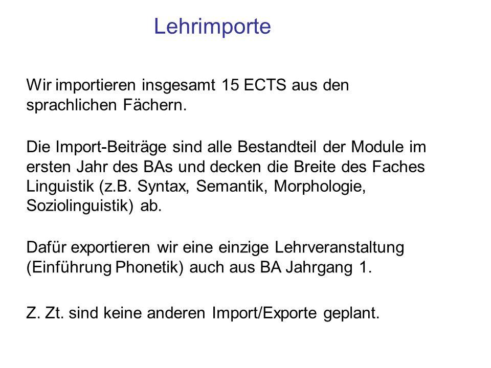 Lehrimporte Wir importieren insgesamt 15 ECTS aus den sprachlichen Fächern. Die Import-Beiträge sind alle Bestandteil der Module im ersten Jahr des BA