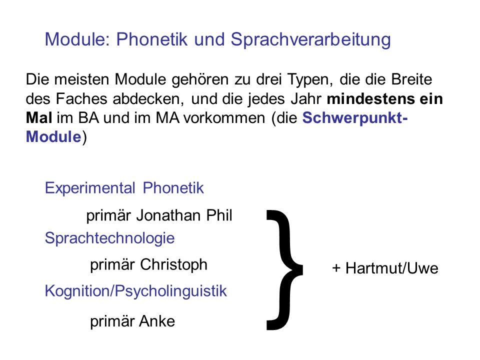 Module: Phonetik und Sprachverarbeitung Die meisten Module gehören zu drei Typen, die die Breite des Faches abdecken, und die jedes Jahr mindestens ei