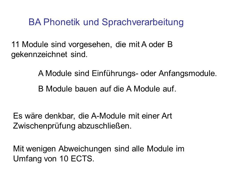 BA Phonetik und Sprachverarbeitung 11 Module sind vorgesehen, die mit A oder B gekennzeichnet sind. A Module sind Einführungs- oder Anfangsmodule. B M