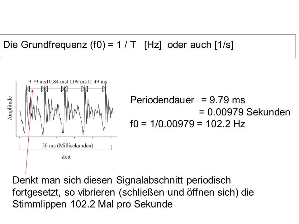Die Grundfrequenz (f0) = 1 / T [Hz] oder auch [1/s] Periodendauer = 9.79 ms = 0.00979 Sekunden f0 = 1/0.00979 = 102.2 Hz Denkt man sich diesen Signalabschnitt periodisch fortgesetzt, so vibrieren (schließen und öffnen sich) die Stimmlippen 102.2 Mal pro Sekunde