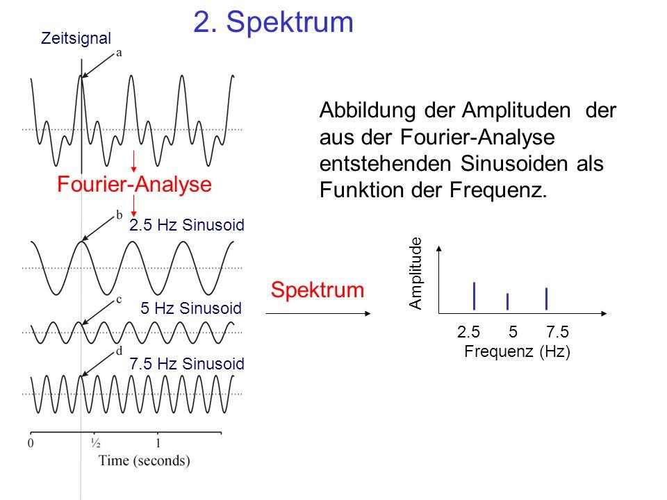 2.557.5 Frequenz (Hz) Amplitude Abbildung der Amplituden der aus der Fourier-Analyse entstehenden Sinusoiden als Funktion der Frequenz.