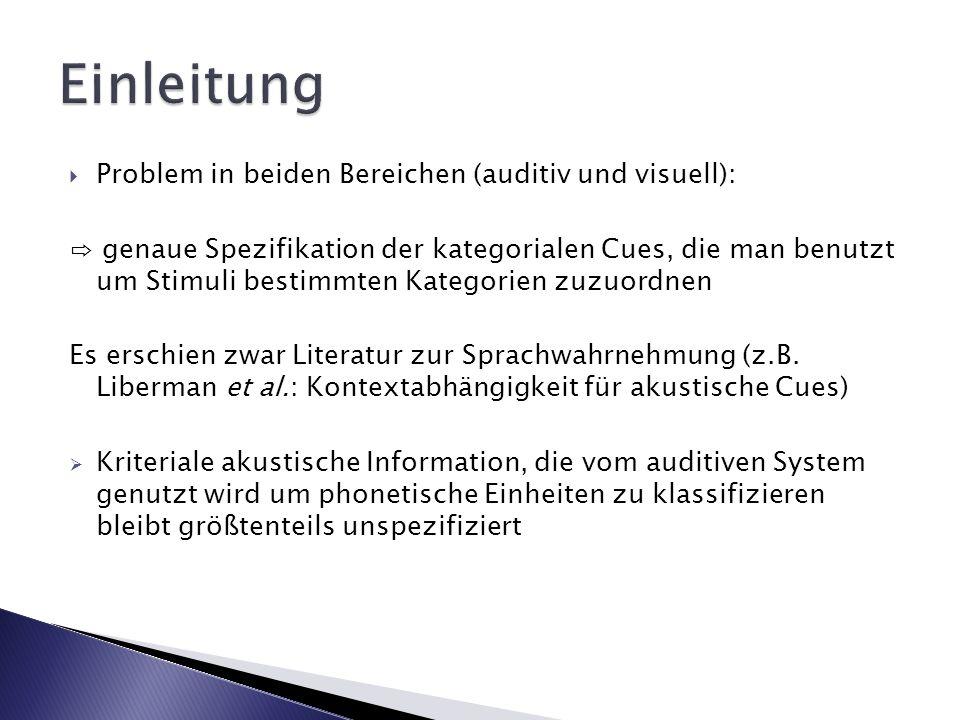Problem in beiden Bereichen (auditiv und visuell): genaue Spezifikation der kategorialen Cues, die man benutzt um Stimuli bestimmten Kategorien zuzuor