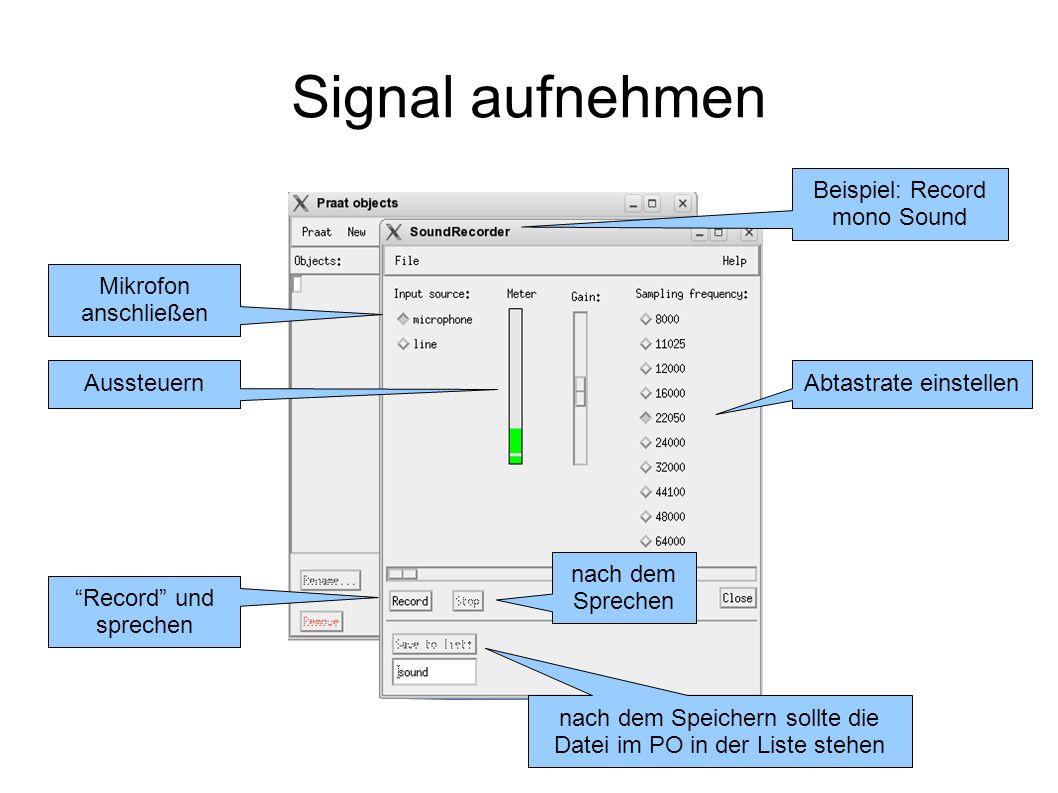 Edit Window Zeitsignal Spektrogramm (Schmalband) Analysemethoden: Spektrum, Tonhöhe, Intensität, Formanten, Impulse OW: Die Datei des Audiosignals markieren --> Edit