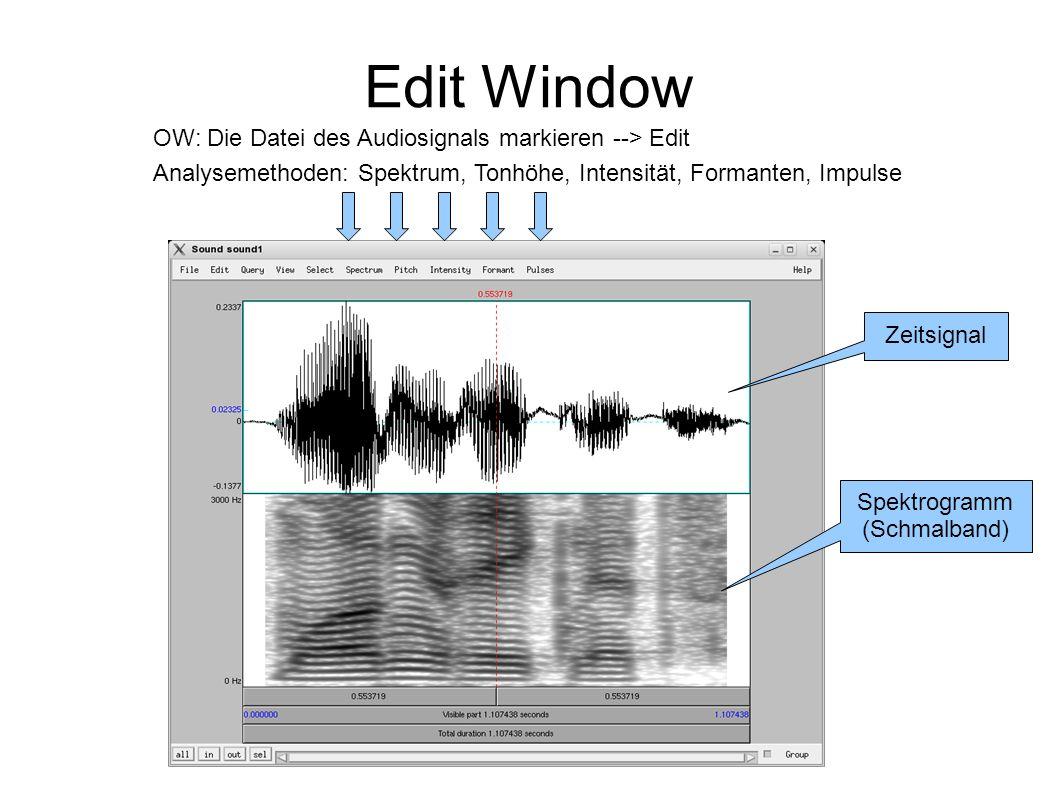 Edit Window Zeitsignal Spektrogramm (Schmalband) Analysemethoden: Spektrum, Tonhöhe, Intensität, Formanten, Impulse OW: Die Datei des Audiosignals mar