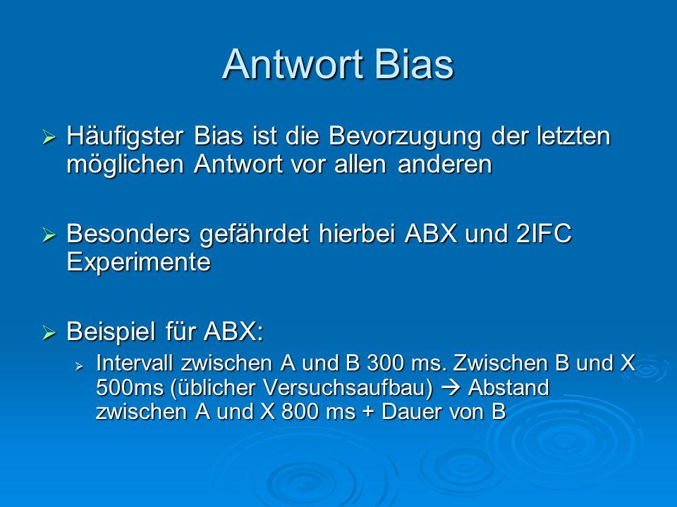 Antwort Bias Häufigster Bias ist die Bevorzugung der letzten möglichen Antwort vor allen anderen Häufigster Bias ist die Bevorzugung der letzten mögli