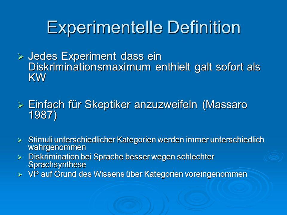 Zusammenfassung Identifikation und Diskrimination sagen kaum etwas über die Kategoriale Wahrnehmung aus Identifikation und Diskrimination sagen kaum etwas über die Kategoriale Wahrnehmung aus Ausschlaggebende Faktoren: Ausschlaggebende Faktoren: Qualität der Sprachsynthese Qualität der Sprachsynthese Versuchsaufbau (ABX, 2IFC, 4IAX) Versuchsaufbau (ABX, 2IFC, 4IAX) Versuchspersonen (Laien vs.