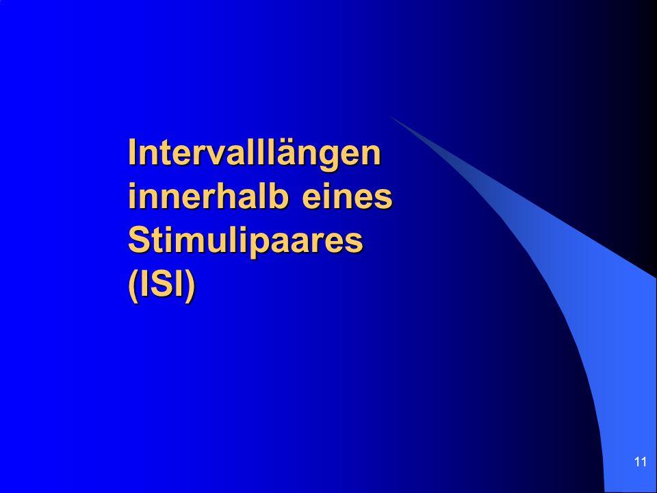 11 Intervalllängen innerhalb eines Stimulipaares (ISI)